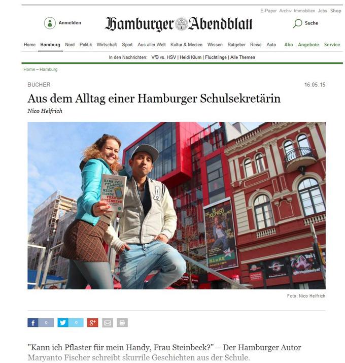 """""""Kann ich Pflaster für mein Handy, Frau Steinbeck"""" im Hamburger Abendblatt, Maryanto Fischer"""